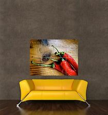 GIGANTE STAMPA POSTER CIBO Peperoncino Chili Pepper Red Hot Spicy LEGNO pdc013