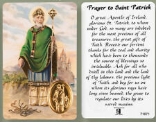 SAINT PATRICK LAMINATED PRAYER CARD + FOIL MEDAL STATUES CANDLES PICTURES LISTED