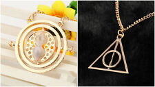 Harry Potter Time Turner + Gold Deathly Hallows Charm Pendant Necklace USA Ship