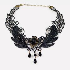 Élégant Noir Dentelle Perles Pendentif Lolita Gothique Collier Cadeau Fête