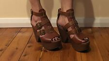 Brown Leather Wedges By Soles Size 7/38 New RRP $89 Reduced To $25