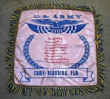 VTG MILITARY SOUVENIR US ARMY TO MY WIFE PINK PILLOW CASE SHAM CAMP BLANDING FLA