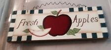 """4.5x10"""" Fresh Apples Wood Country Primitive Kitchen Wall Wooden Apple Decor Sign"""