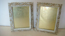 VINTAGE LOT 2 SHABBY FRENCH COTTAGE CHIC CERAMIC WHITE GOLD ACCENT WALL FRAMED