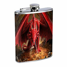 Flask 8oz Stainless Steel Dragon Design-002 Custom Skin Fantasy Mythology
