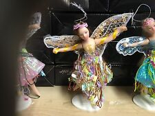 "SMALL 5"" PORCELAIN YELLOW FAIRY FIGURE ORNAMENT DOLL WITH STAND OR CAN BE HUNG"