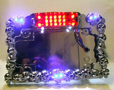 Skulls LED License Plate Fr with Lighting Skull Eyes- Rear Mount-Motorcycles