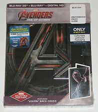 """MARVEL Blu-ray 3D Avengers Age of Ultron (NEW) w/ Steelbook """"Vision"""" Back Cover"""
