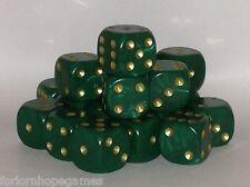 20 x 16mm Pearl D6 Spot Dice Six Sided plastic - Green