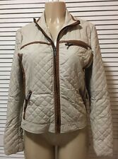 Via Spiga  Beige/Brown Front Zip Quilted Faux Leather Jacket Size Small