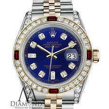 Rolex S/S Gold 36mm Datejust Watch Blue Dial Ruby & Diamond Bezel With A Track