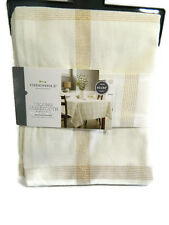 Threshold Tablecloth Round Cream Gold Plaid 70 inch New