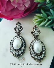 Vintage inspired white crystal cluster & pearl chandelier statement earrings