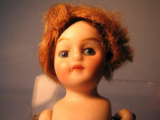 Victorian miniature porcelain doll with glass eyes & hair 3.75 inch dols house