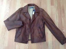 Polo Ralph Lauren rare Safari leather pea coat jacket vintage distressed brown S