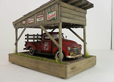 1:43 1950 chevy Truck Texaco  Barn / garage / carport diorama w/ lights