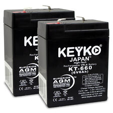 6V 6Ah SLA Sealed Lead Acid Replacement rechargeable Battery KEYKO ® (F1 ) 2PK