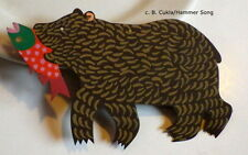 B.CUKLA/HAMMER SONG BEAR WITH FISH CHRISTMAS ORNAMENT/HAND CUT PAINTED/RETIRED