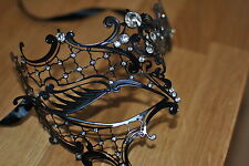 Venetian Clear Diamonte Phantom Style Black Metal Mask Filigree Masquerade.UK .