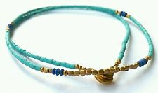 """Afghan Natural Turquoise & Lapis Lazuli Tiny Seed Beads Necklace Handmade 17.7"""""""