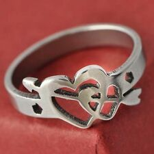 D4404 Novelty Stainless Steel Womens Cupid Heart shape Ring Size 5#