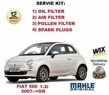 FOR FIAT 500 1.2 2007 >ON OIL AIR FUEL POLLEN FILTER + SPARK PLUGS SERVICE KIT