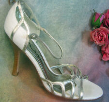 NINA designer SHOES High Heels WHITE LINEN silver metallic LEATHER strappy 9 M