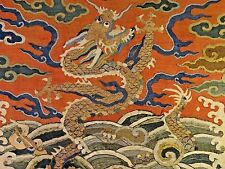 Late Ming/Early Qing [Ch'ing] Dyn Chinese Silk K'o-ssu-Kesi Dragon Chair Panel
