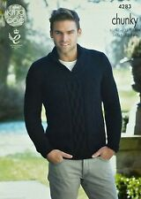 KNITTING PATTERN Mens Long Sleeve Roll Collar Jumper Cable Design Chunky KC 4283