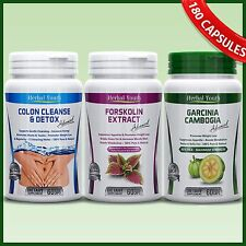 3 x BOTTLES GARCINIA CAMBOGIA + FORSKOLIN + COLON CLEANSE DETOX PURE DIET PILLS
