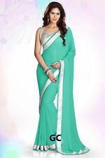 Turquoise Bollywood Chiffon Plain Silver Border Party Wear Saree Sari Drape TOP