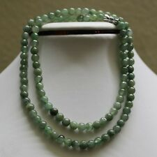 "100% Natural Untreated Grade ""A"" Beautiful Green Jadeite Bead Necklace 5.8mm 20"""