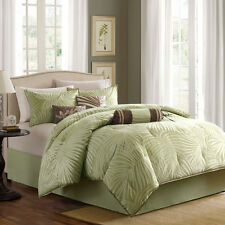 BEAUTFUL TROPICAL PALM LEAVES GREEN BROWN 7Pc COMFORTER SET CAL , KING & QUEEN