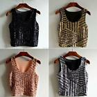 Women Tank Crew Neck Sleeveless Blouse Vest T-Shirt Tops Summer Sequin Crop Top