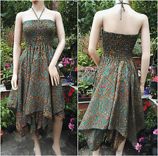 Fair Trade Turquoise Paisley Pixie Hem Halter Dress Fairy Festival Boho Freesize
