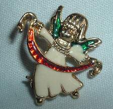 VINTAGE CHRISTMAS GOLDTONE WHITE GREEN RED ENAMELED ANGEL BROOCH PIN IN GIFT BOX