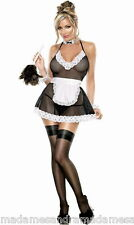 SEXY NAUGHTY FRENCH MAID COSTUME See Through OUTFIT BEDROOM Party Fancy Dress
