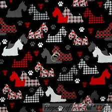 BonEful Fabric FQ Cotton Quilt Black B&W White Red DOG Puppy Scottie Paw Pattern