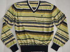 Womens CONTE OF FLORENCE Striped Cotton V-Neck Sweater - Large