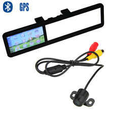 "4.3"" LCD 128MB Car Bluetooth GPS Navigator View Mirror Monitor+Backup Camera Kit"
