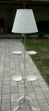 VINTAGE TOLE SHABBY COTTAGE WHITE Wrought iron floor lamp PLANT CURIO STAND