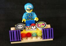 Lego city minifig  Blue hair girl DJ sunglasses lights discs speakers  NEW