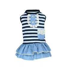 DOG DRESS BLUE STRIPY PUPPY TEACUP TINY small 21CM CHIHUAHUA YORKIE CLOTHES XS