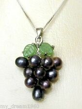 Black Cultured Pearl Grape Cluster Jade Leaf Pendant Necklace