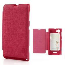 Protección bolsa funda flip cover case para Sony Xperia L s36h c2105 slim Pink 10d