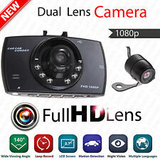 Full HD Car Dual Lens DVR Camera Recorder Tachograph G Sensor With Microphone