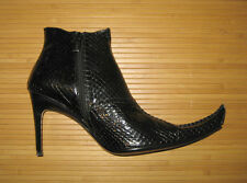 Manry Black Snakeskin Ankle Boots Size 8 NIB Witch Costume Very Pointy Toe