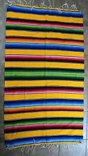 Vintage Serape Mexican Wool Blend Blanket Blue Orange Red Green Pink Yellow