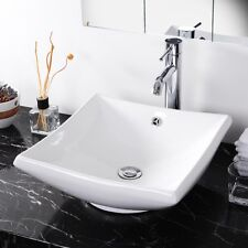 Bathroom Square Ceramic Vessel Vanity Sink w/ Pop Up Drain Porcelain Basin