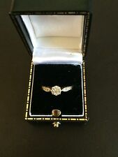 9ct Gold .10ct Illusion Set Single Stone Ring With Diamond Set Shoulders Size L
